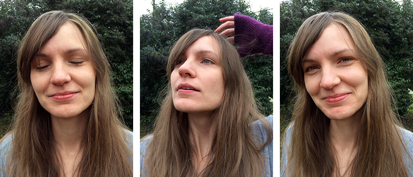 Headshots of Meg; one with her eyes closed, one with her fixing her hair, one with her looking pleasant.